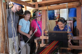 Juana makes typical textile products and sells them in the streets of San Antonio an d nearby towns.